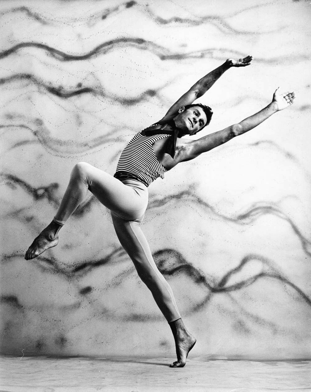 American Ballet Theatre dancer John Kriza performing, signed by Jack Mitchell