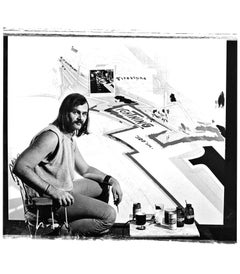 American photorealist painter Ron Kleeman at work, signed by Jack Mitchell