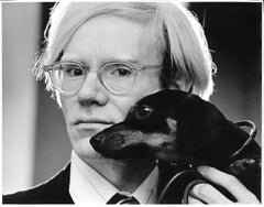 Andy Warhol & his beloved dachshund Archie, signed by Jack Mitchell