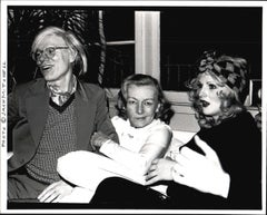 Andy Warhol, noir film star Veronica Lake & Candy Darling at a cocktail party