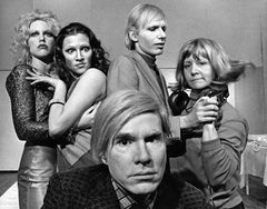 """Andy Warhol with the cast of his play """"Pork"""" at La Mama, signed by Jack Mitchell"""