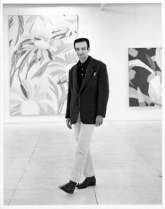 Artist Alex Katz at an exhibition of his paintings, signed by Jack Mitchell