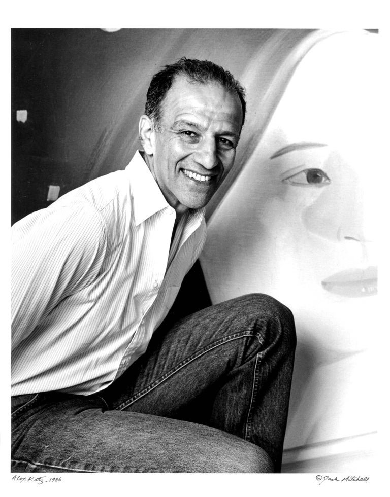 """11 x 14"""" vintage silver gelatin photograph of artist Alex Katz in his studio in 1986. Signed by Jack Mitchell on the print recto. Comes directly from the Jack Mitchell Archives with a certificate of authenticity.   Jack Mitchell, (1925-2013) bulging"""