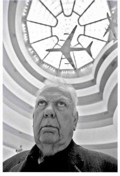 Artist Alexander Calder in the Guggenheim gazing up at his painted jet aircraft