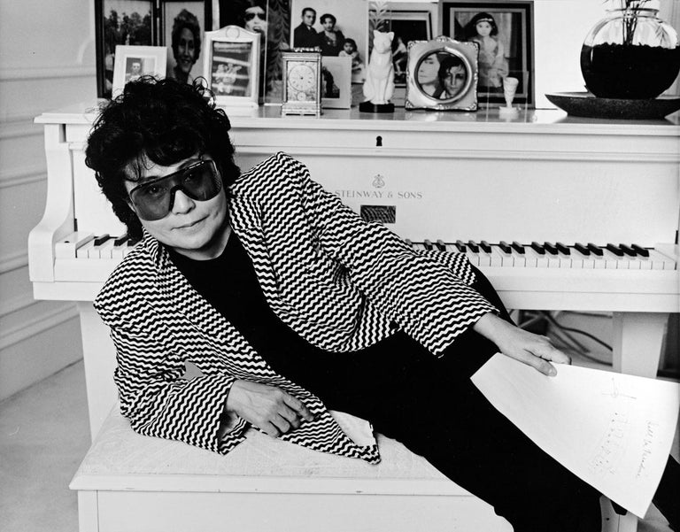 Jack Mitchell Black and White Photograph - Artist and Musician Yoko Ono photographed at her Dakota apartment in NYC