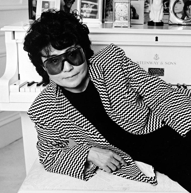 Artist and Musician Yoko Ono photographed at her Dakota apartment in NYC - Photograph by Jack Mitchell