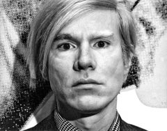 Artist Andy Warhol at His Whitney Museum Retrospective, Signed