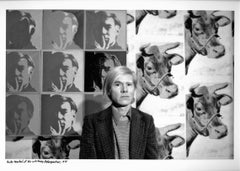 Artist Andy Warhol photographed at his Whitney Retrospective