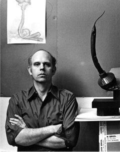 Artist Claes Oldenburg in his studio with his work