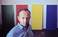 Artist Ellsworth Kelly photographed in his studio with his latest work