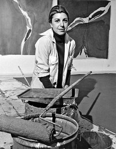 Artist Helen Frankenthaler with her recent work, signed by Jack Mitchell