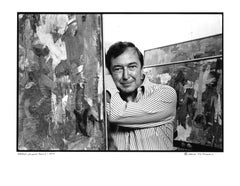 Artist Jasper Johns in his studio with new work, signed by Jack Mitchell
