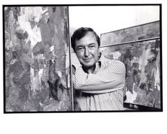 Artist Jasper Johns photographed with his work at the Whitney in New York City