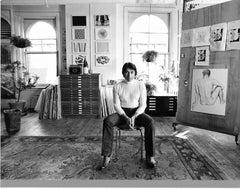 Artist Lowell Nesbitt in his Manhattan home & studio with his work