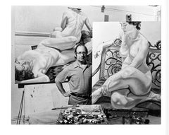 Artist Philip Pearlstein in his studio with his paintings