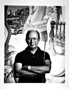 Artist Philip Pearlstein in his studio with his work