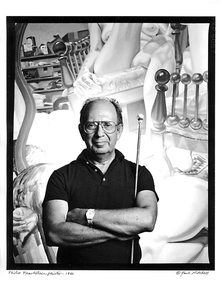 "11 x 14"" vintage silver gelatin photograph of artist Philip Pearlstein with Maulstick, 1986. Signed by Jack Mitchell on the print recto. A nearly identical print is in the collection of the National Portrait Gallery. Comes directly from the Jack"