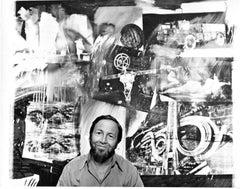 Artist Robert Rauschenberg in his studio.  Signed by Jack Mitchell
