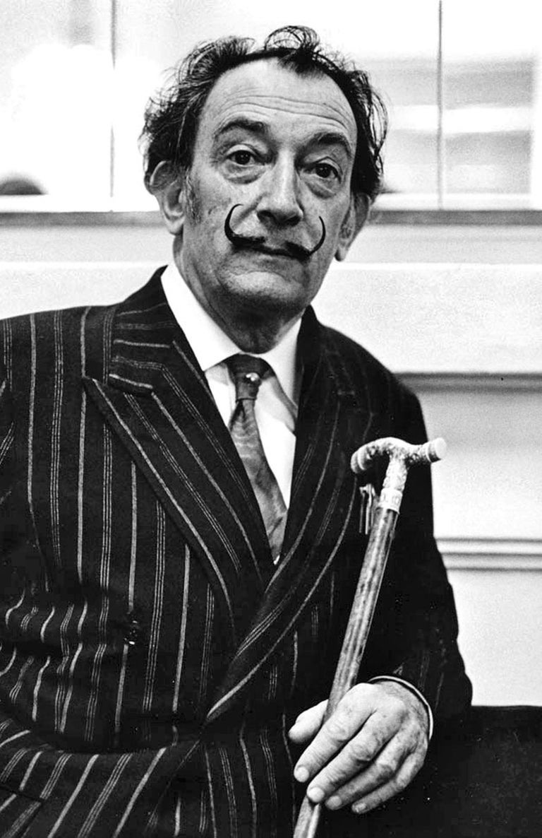 Artist Salvador Dali photographed in Barcelona, signed by Jack Mitchell For Sale 1