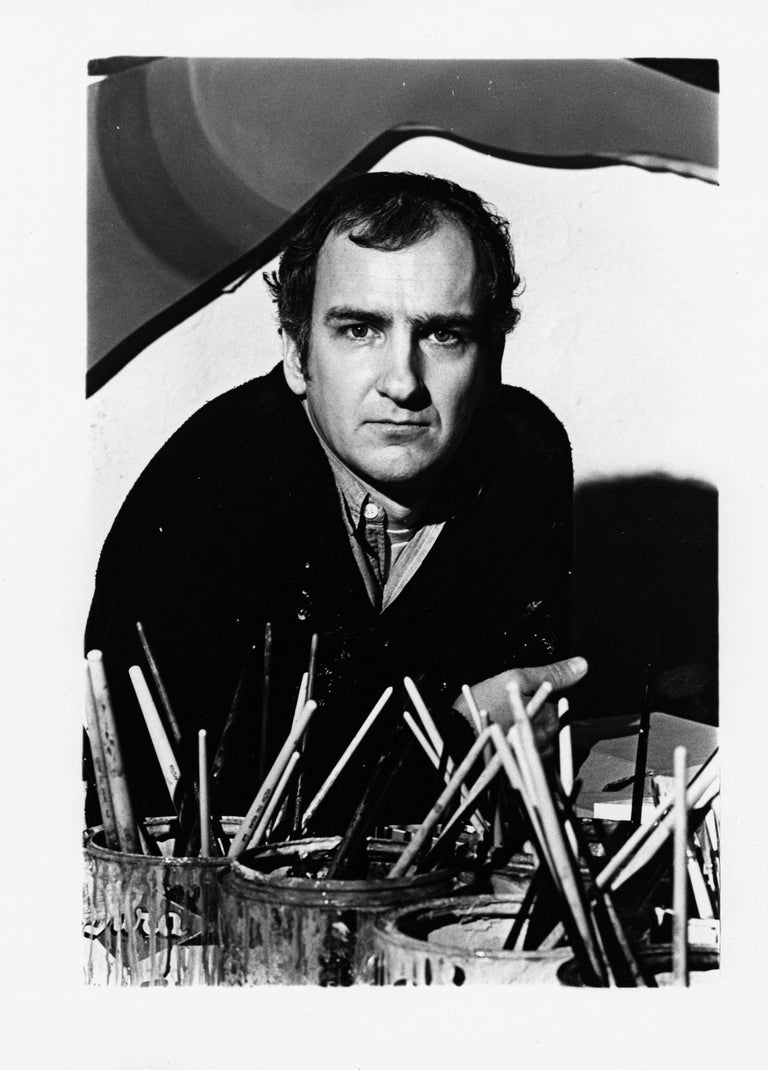 """11 x 14"""" vintage silver gelatin photograph of artist Tom Wesselmann in his New York City studio in 1969. Signed by Jack Mitchell on the print verso. Comes directly from the Jack Mitchell Archives with a certificate of authenticity.  Jack Mitchell,"""