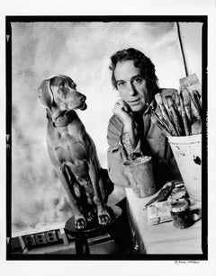 Artist William Wegman and his beloved dog Fay, signed by Jack Mitchell