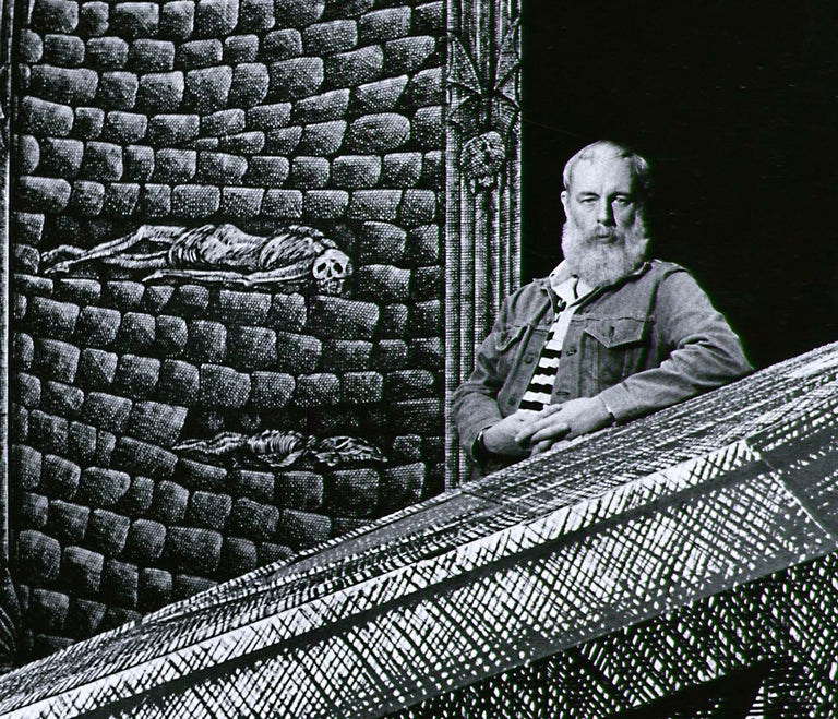 Artist/Writer Edward Gorey on the Broadway set he designed for 'Dracula', 1977. - Photograph by Jack Mitchell