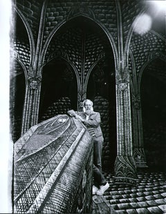 Artist/Writer Edward Gorey on the Broadway set he designed for 'Dracula', 1977.