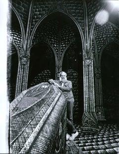 Artist/Writer Edward Gorey on the Broadway set he designed for 'Dracula', 1977.