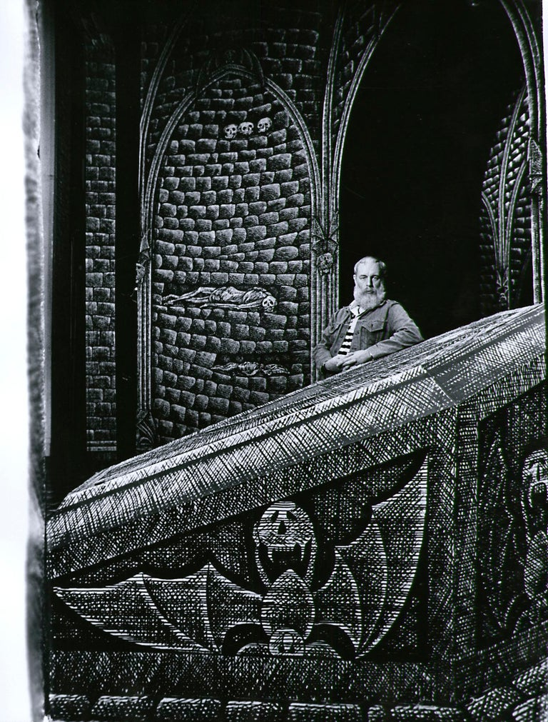 Jack Mitchell Black and White Photograph -  Artist/Writer Edward Gorey on the Broadway set he designed for 'Dracula', 1977.