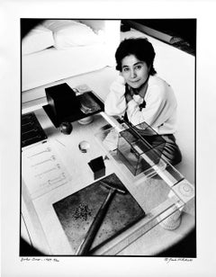 Artist Yoko Ono with her work, signed by Jack Mitchell