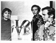 Artists John Willenbecker, Robert Indiana, & William Katz with 'LOVE' sculpture