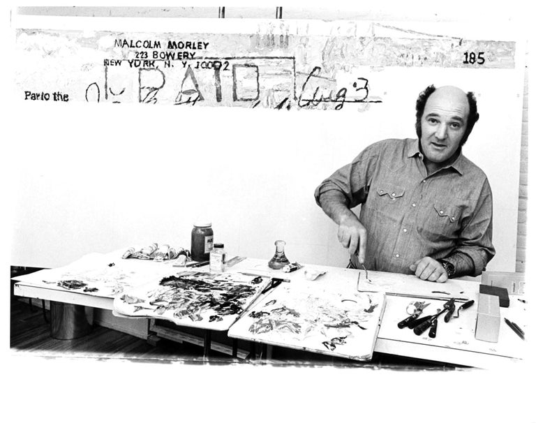 Jack Mitchell Black and White Photograph - British-American Artist Malcolm Morley in his Manhattan Studio