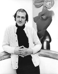British Pop Artist Allen Jones with his work, signed by Jack Mitchell
