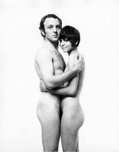 British pop artist Gerald Laing and his wife Galina pose for wedding photos