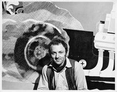 British Pop Artist Gerald Laing in his Manhattan studio with recent work