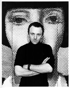 British Pop Artist Gerald Laing portrait in his studio signed by Jack Mitchell