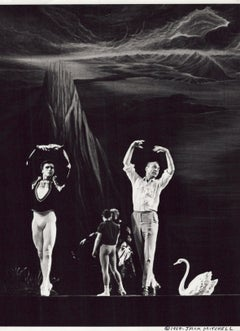 Choreographer George Balanchine rehearsing Edward Villella and Patricia McBride