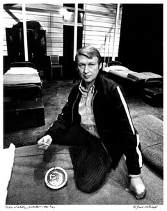 """Director Mike Nichols on the set of """"Streamers"""", signed by Jack Mitchell"""
