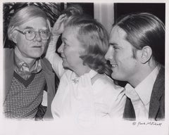 Veronica Lake, Andy Warhol, Joe Dallesandro at a party, Signed by Jack Mitchell