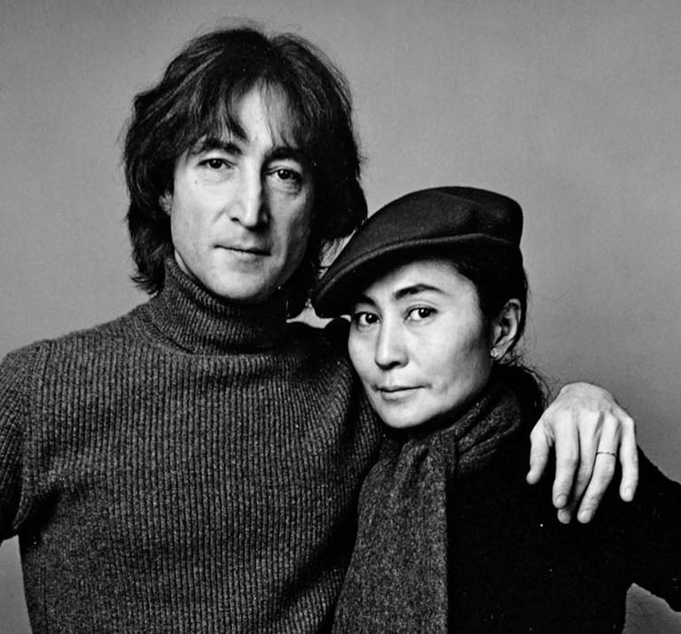 John Lennon and Yoko Ono photographed November 2, 1980. Signed by Jack Mitchell For Sale 1