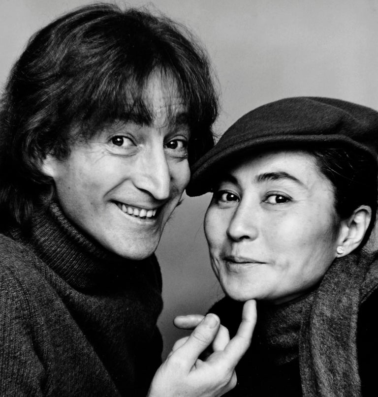 John Lennon and Yoko Ono Photographed November 2, Signed - Black Black and White Photograph by Jack Mitchell