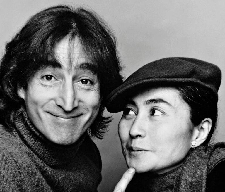 John Lennon and Yoko Ono, Photographed November 2, 1980, Signed - Gray Portrait Photograph by Jack Mitchell