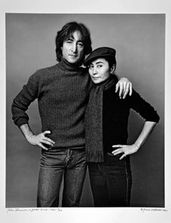 John Lennon and Yoko Ono photographed November 2, 1980. Signed by Jack Mitchell