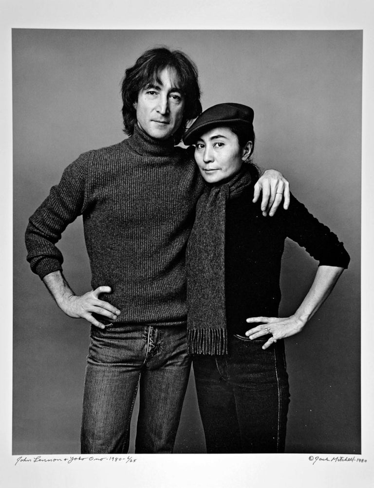 """11 x 14"""" vintage silver gelatin photograph of John Lennon and Yoko Ono photographed November 2, 1980, the last comprehensive photo session of Lennon's life. Signed by Jack Mitchell on the print recto.   Comes directly from the Jack Mitchell Archives"""