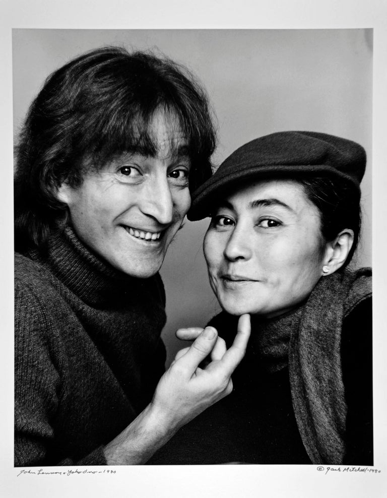 Jack Mitchell Black and White Photograph - John Lennon and Yoko Ono Photographed November 2, Signed