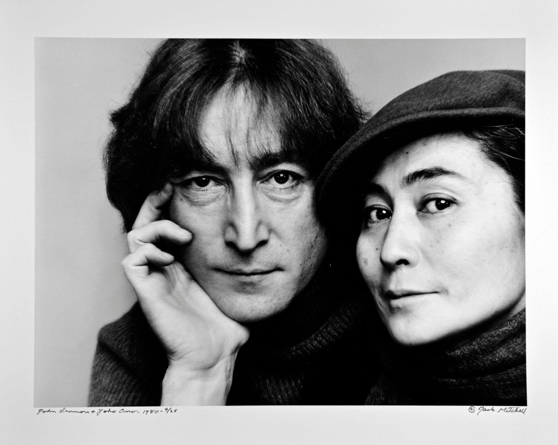 John Lennon and Yoko Ono photographed November 2, 1980. Signed by Jack Mitchell