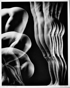 Large format vintage multiple exposure male nude, signed by Jack Mitchell