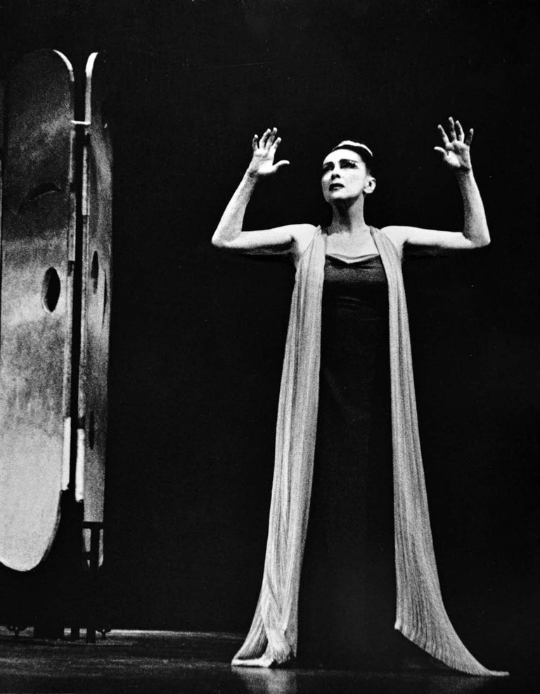 """11 x 14"""" vintage silver gelatin photograph of Martha Graham in her iconic premiere performance of """"Phaedra"""", 1962. Signed by Jack Mitchell on the print verso. Comes directly from the Jack Mitchell Archives with a certificate of authenticity.  Jack"""