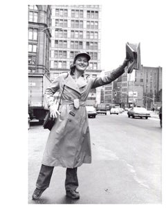 Meryl Streep hailing a cab outside of Joseph Papp's Public Theater in Manhattan