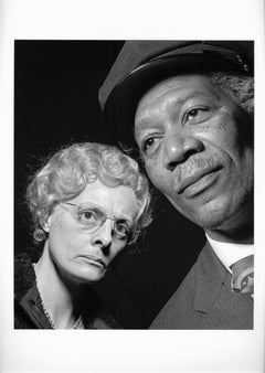 "Morgan Freeman and Dana Ivey in costume for the hit play ""Driving Miss Daisy"""